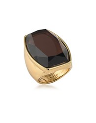 Trina Turk 14K Goldplated Brass Rectangular Cocktail Ring Brown