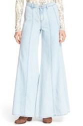 Free People 'Gilmour' High Rise Wide Leg Jeans Blue
