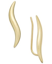 Macy's Polished Wave Ear Climber Earrings In 10K Gold Yellow Gold