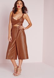 Missguided Faux Leather Cut Out Culotte Jumpsuit Brown Brown