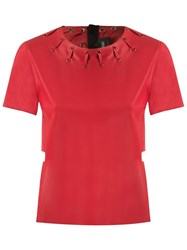 Andrea Bogosian Round Neck Blouse Red