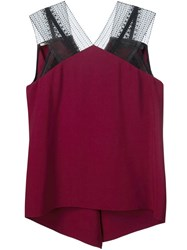 Roland Mouret Lace Straps Tank Top Red