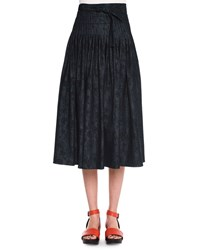 Tomas Maier Meadow Print Pleated Denim Skirt Dark Navy Black Men's Size 6 Dk Navy Black