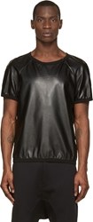 Denis Gagnon Black Leather And Mesh Short Sleeve Top