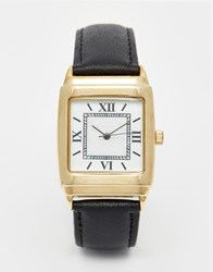 Reclaimed Vintage Square Leather Watch Black