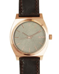 Nixon Pink Gold Time Teller Watch Brown Horween Leather Strap