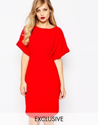 Closet Kimono Sleeve Midi Dress With Tie Back Detail And Split Front Red