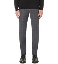 Slowear Checked Stretch Cotton Trousers Blue