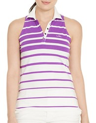 Lauren Ralph Lauren Plus Striped Sleeveless Polo Shirt Purple White
