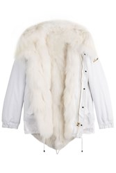Barbed Cotton Parka Jacket With Fox Fur White