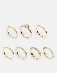 Designsix Multi Band Turquoise Ring Pack Gold
