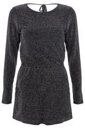 Quiz Black Brillo Cowl Back Playsuit