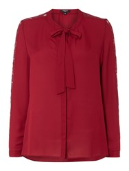 Therapy Pauline Pussybow Lace Sleeve Detail Blouse Burgundy