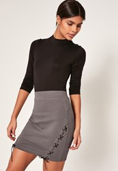 Missguided Grey Ribbed Lace Up Side Mini Skirt