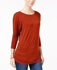 Planet Gold Juniors' Ruched Dolman Sleeve Top Roobios Tea