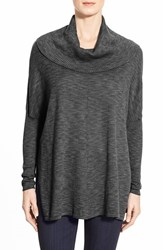 Women's Fever Space Dye Cowl Neck Dolman Sleeve Tunic Black