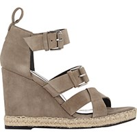 Balenciaga Women's Double Buckle Wedge Espadrille Sandals Nude
