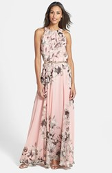 Petite Women's Eliza J Print Chiffon Maxi Dress Pink Multi