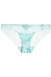 Heidi Klum Intimates Lune De Miel Low Rise Stretch Satin And Lace Briefs