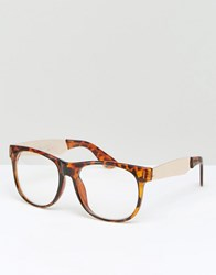 Jeepers Peepers Square Clear Lens Glasses Brown
