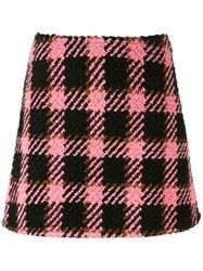Marni Three Dimensional Checked Skirt Pink And Purple