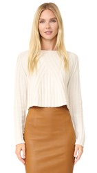 Theperfext Casey Cropped Long Sleeve Sweater Chalk