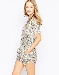 Traffic People Wrap Front Playsuit In Artistic Paisley Print Multi