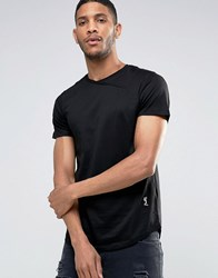 Religion Curved Hem T Shirt With Cross Over Neck Detail Black