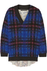Thakoon Boucle Knit And Printed Silk Sweater Blue