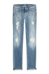 7 For All Mankind Seven For All Mankind Distressed Jeans Blue