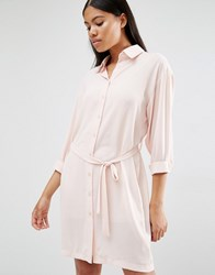 Love Long Sleeve Belted Shirt Dress Blush Pink