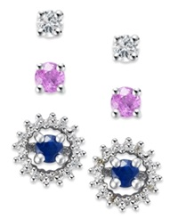 Macy's Sterling Silver Earring Set Pink 3 8 Ct. T.W. White 3 8 Ct. T.W. And Blue Sapphire 3 8 Ct. T.W. And Diamond Accent Jacket Interchangeable Stud Set None