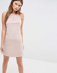 Fashion Union Rib Halter Neck Dress With Tie Up Back Pink