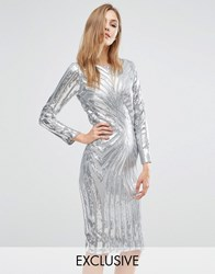 Club L Midi Dress In Sequin Placement With Long Sleeve Silver