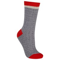 John Lewis Cashmere Blend Check Pattern Ankle Socks Grey Poppy Red Grey Poppy Red