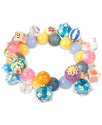 Macy's M. Haskell Gold Tone Shaky Mixed Multi Colored Bead Stretch Bracelet