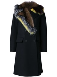 Ermanno Scervino Fur Collar Coat Black