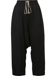 Rick Owens Textured Cropped Trousers Black