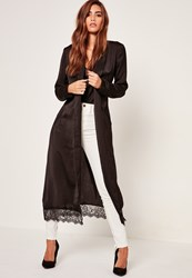 Missguided Black Lace Hem Silk Duster Jacket