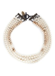 Venna Cone Spike Pearl Strand Necklace White Metallic