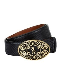 Billionaire Filigree Buckle Python Belt Unisex Black