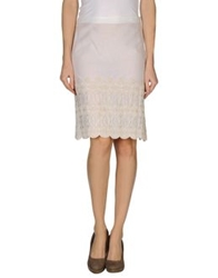 Pin Up Knee Length Skirts Ivory