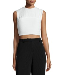 Mcq By Alexander Mcqueen Pleated Sleeveless Crop Top Ivory