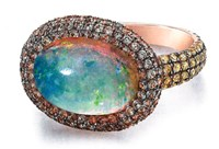 Susan Foster 18K Rose Gold Ethiopian Opal Ring With All Natural Yellow Peach And Pale Blue Sapphire Pave Tcw 2.52 Cts Multi
