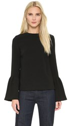 Edit Flute Sleeve Top Black