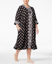 Charter Club Plus Size Contrast Banded Caftan Only At Macy's Black Mosaic