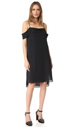 Alexander Wang Pleated Off Shoulder Silk Dress Black