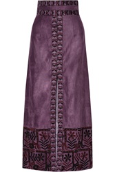 Anna Sui Embroidered Faux Suede Maxi Skirt