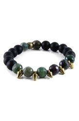 Men's Ettika Agate And Brass Spike Stretch Bracelet