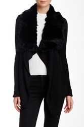 Fate Asymmetrical Genuine Rabbit Fur Collar Knit Sweater Black